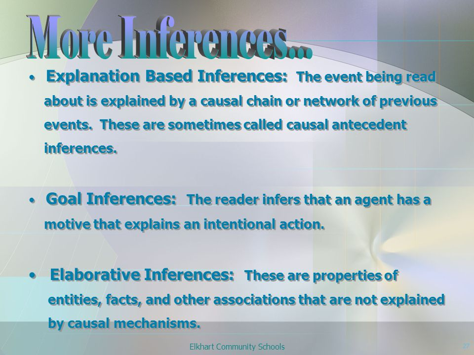 Elkhart Community Schools 27 Explanation Based Inferences: The event being read about is explained by a causal chain or network of previous events.