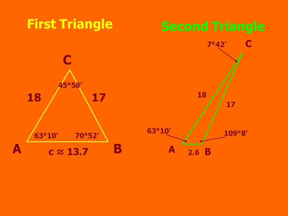 First Triangle AB C 1817 c ≈ 13.7 63°10'70°52' 45°58' Second Triangle A B C 18 17 2.6 63°10' 109°8' 7°42'