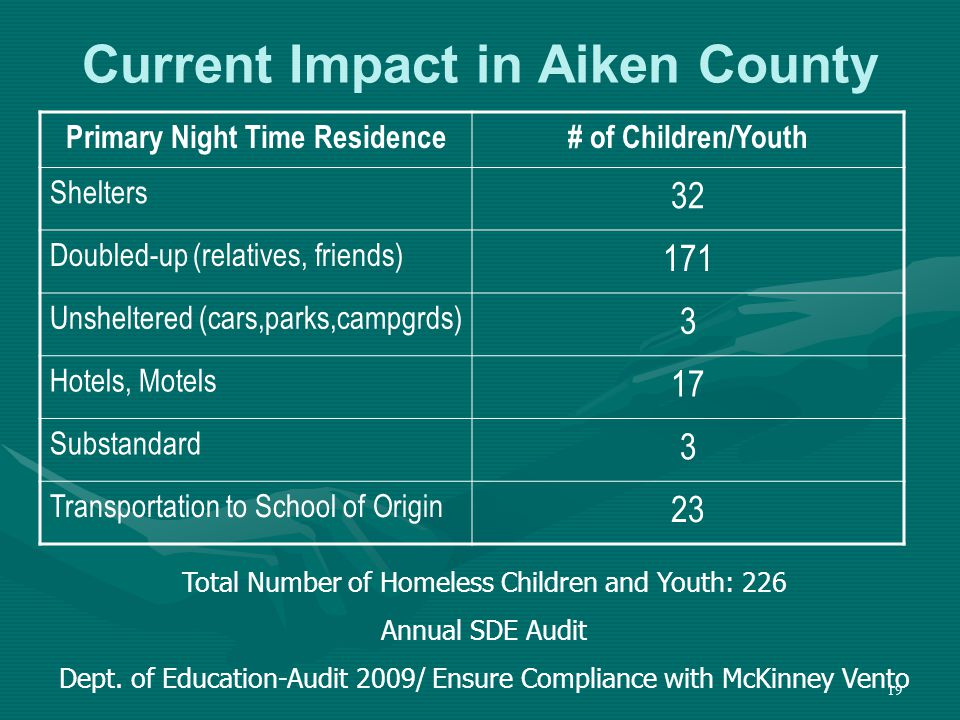 19 Current Impact in Aiken County Primary Night Time Residence# of Children/Youth Shelters 32 Doubled-up (relatives, friends) 171 Unsheltered (cars,parks,campgrds) 3 Hotels, Motels 17 Substandard 3 Transportation to School of Origin 23 Total Number of Homeless Children and Youth: 226 Annual SDE Audit Dept.