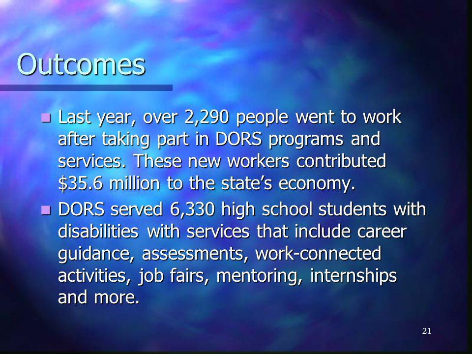 21 Outcomes Last year, over 2,290 people went to work after taking part in DORS programs and services.