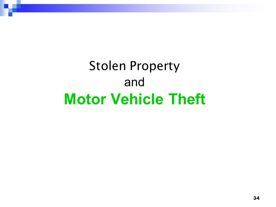 34 Stolen Property and Motor Vehicle Theft