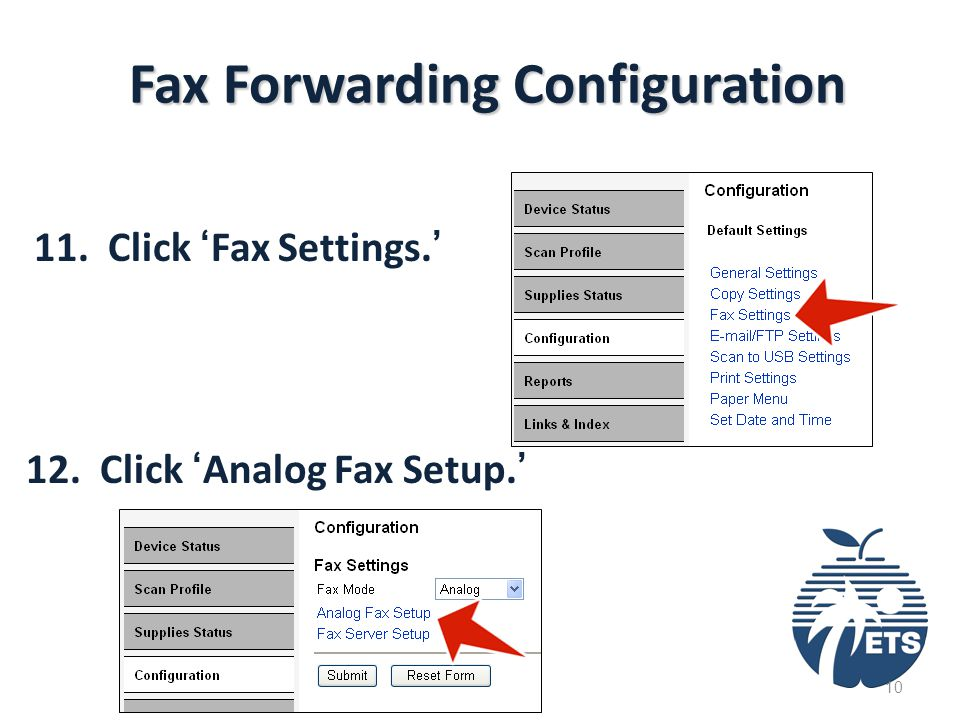 Fax Forwarding Configuration 11. Click 'Fax Settings.' 12. Click 'Analog Fax Setup.' 10