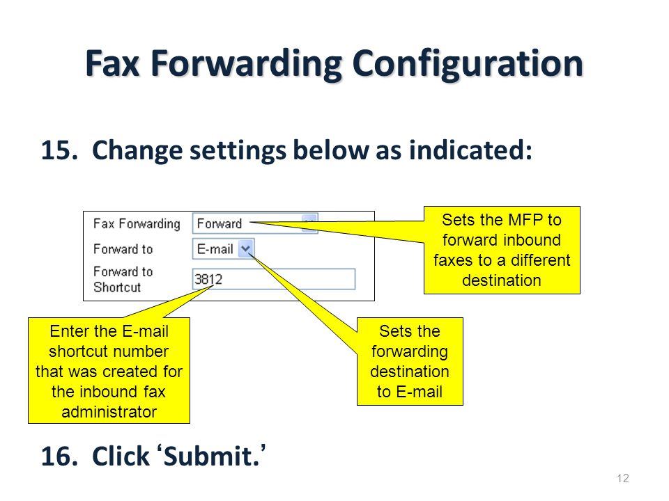 Fax Forwarding Configuration 15.