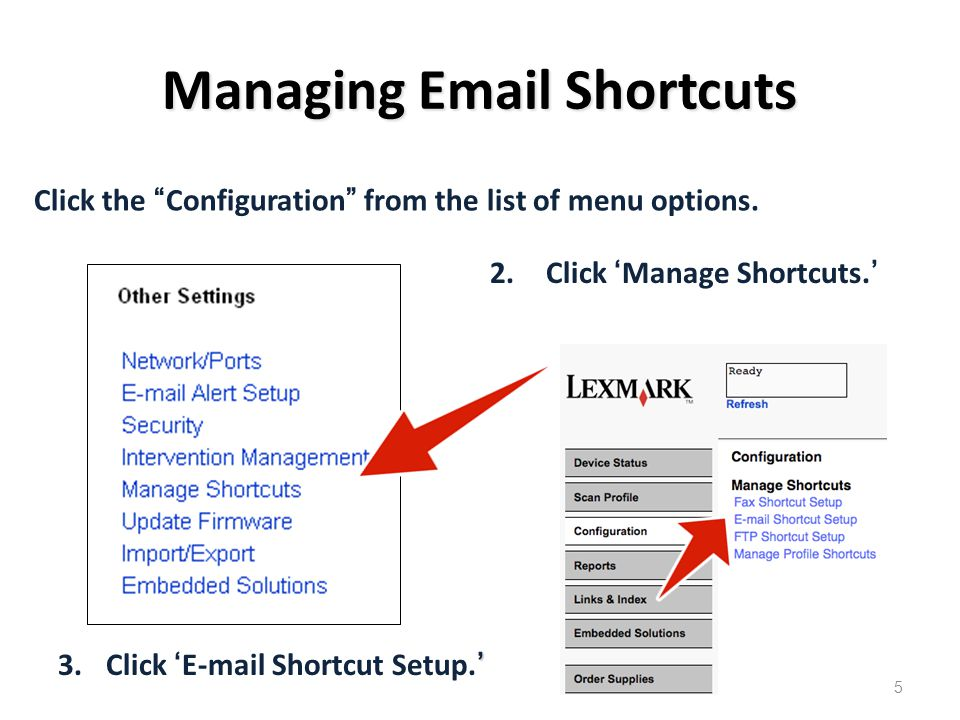 Managing Email Shortcuts 2.Click 'Manage Shortcuts.' ' 3.Click 'E-mail Shortcut Setup.' Click the Configuration from the list of menu options.