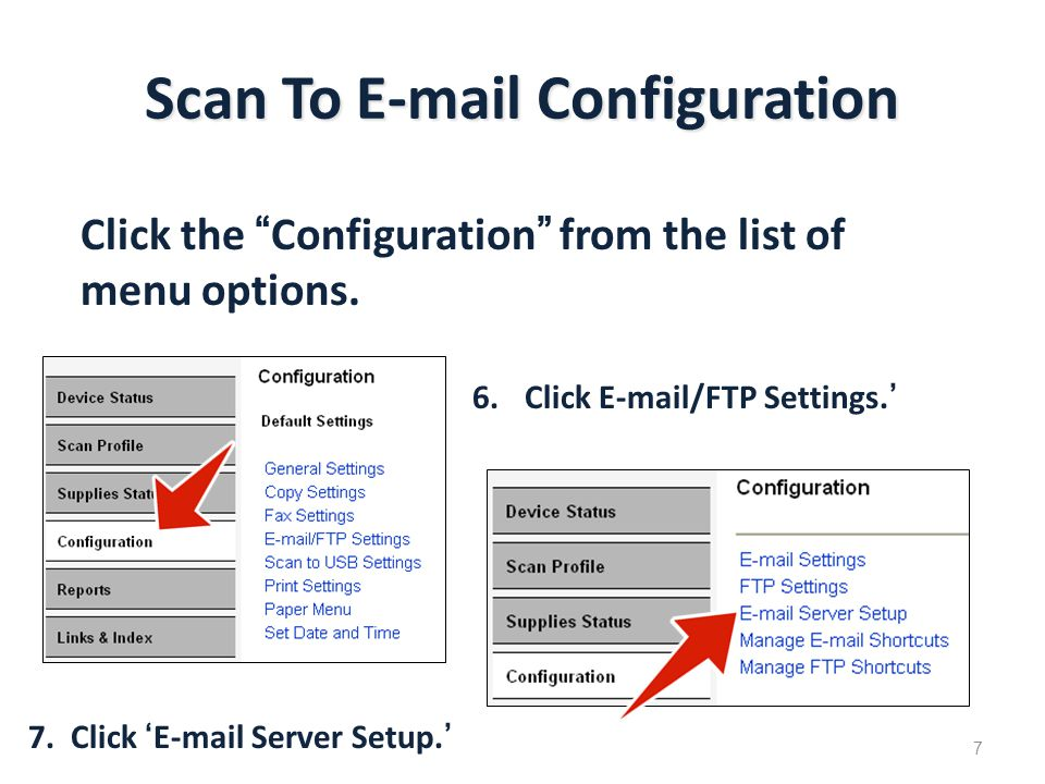 Scan To E-mail Configuration Click the Configuration from the list of menu options.