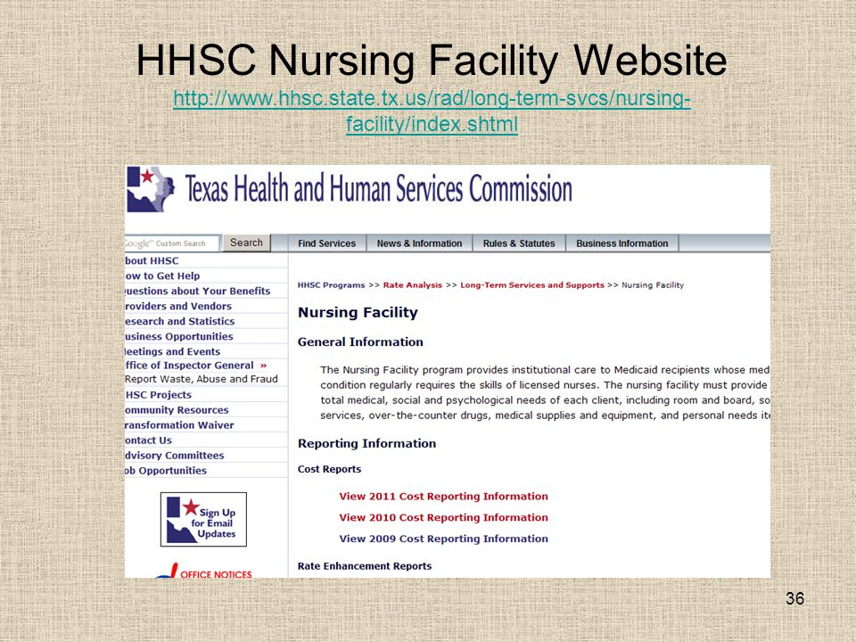 36 HHSC Nursing Facility Website http://www.hhsc.state.tx.us/rad/long-term-svcs/nursing- facility/index.shtml