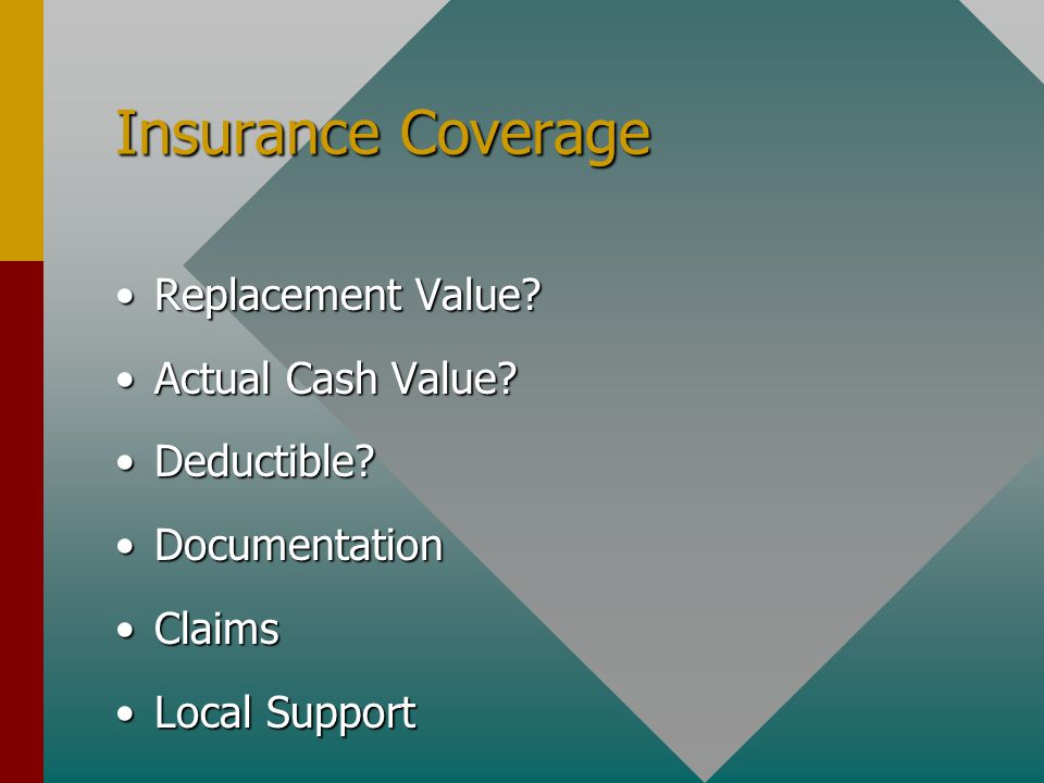 Insurance Coverage Replacement Value Replacement Value.
