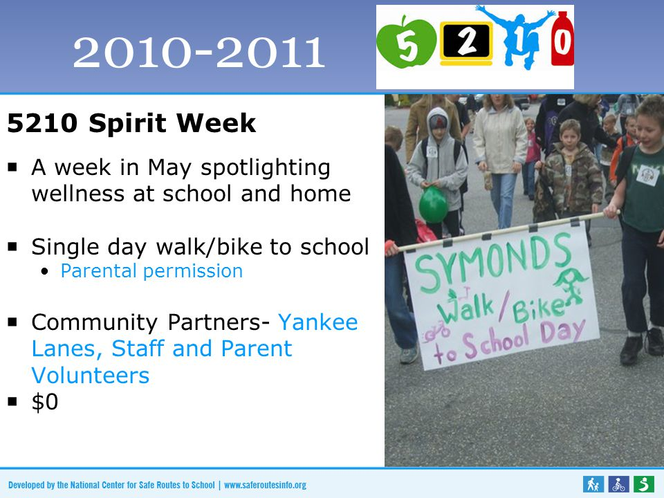 5210 Spirit Week  A week in May spotlighting wellness at school and home  Single day walk/bike to school Parental permission  Community Partners- Yankee Lanes, Staff and Parent Volunteers  $0 2010-2011