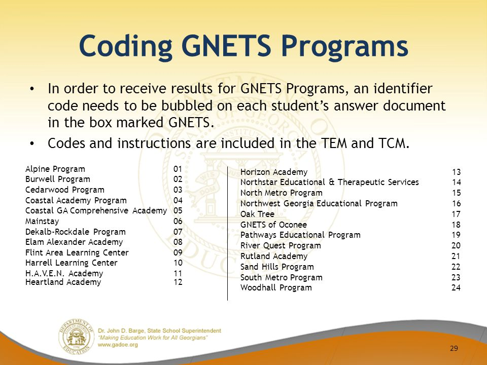 Coding GNETS Programs In order to receive results for GNETS Programs, an identifier code needs to be bubbled on each student's answer document in the box marked GNETS.