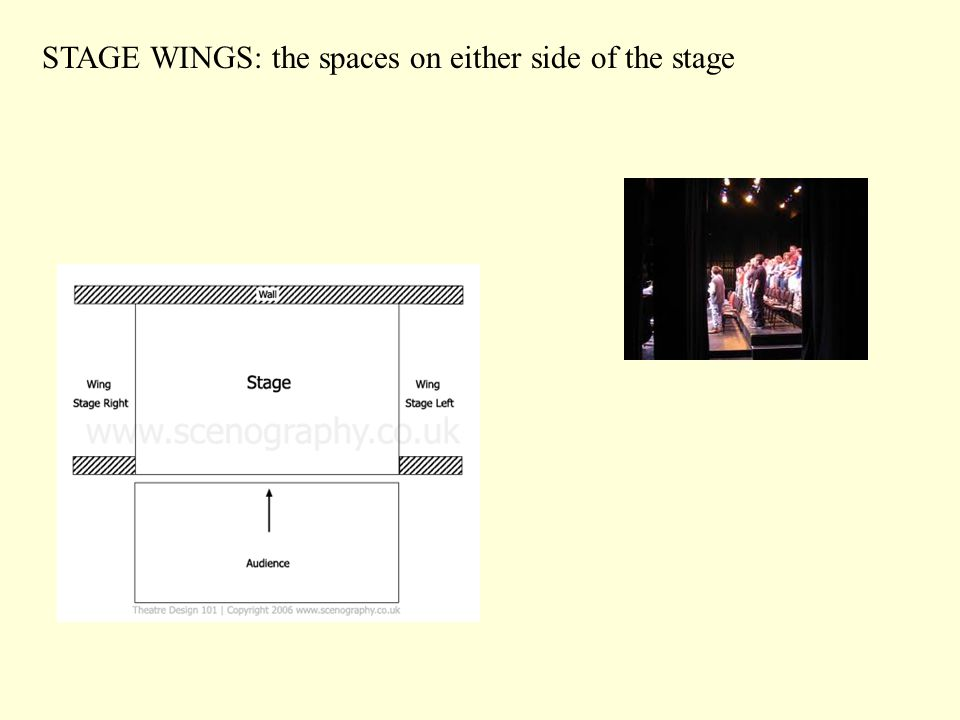 STAGE WINGS: the spaces on either side of the stage