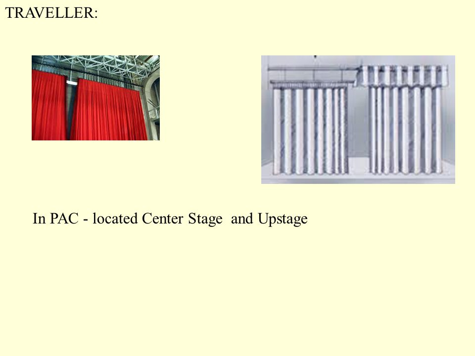 TRAVELLER: In PAC - located Center Stage and Upstage