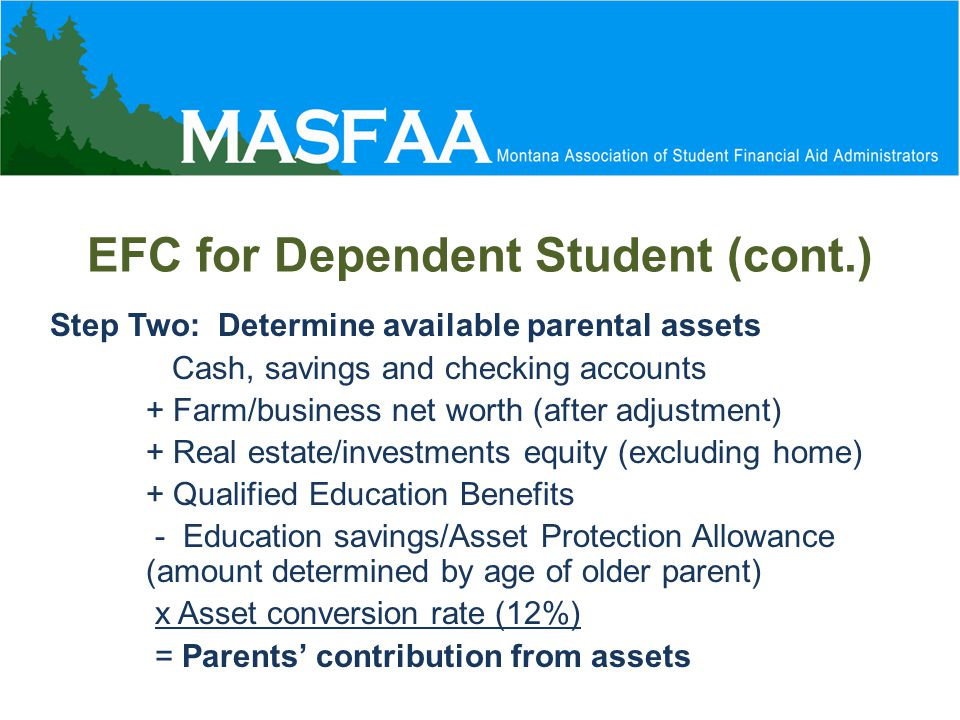 EFC for Dependent Student (cont.) Step Two: Determine available parental assets Cash, savings and checking accounts + Farm/business net worth (after adjustment) + Real estate/investments equity (excluding home) + Qualified Education Benefits - Education savings/Asset Protection Allowance (amount determined by age of older parent) x Asset conversion rate (12%) = Parents' contribution from assets