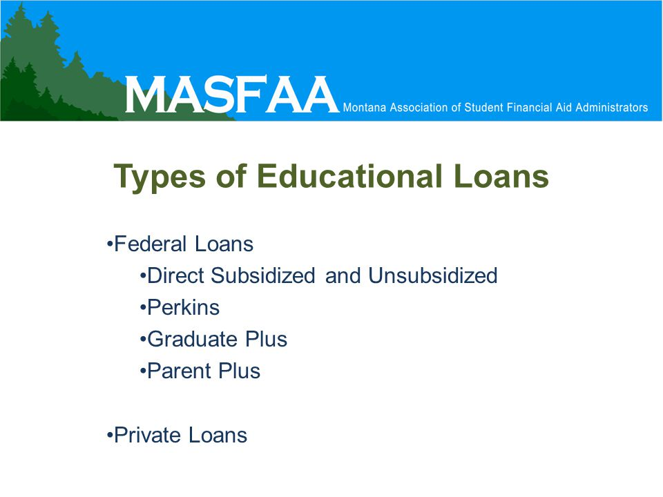 Types of Educational Loans Federal Loans Direct Subsidized and Unsubsidized Perkins Graduate Plus Parent Plus Private Loans