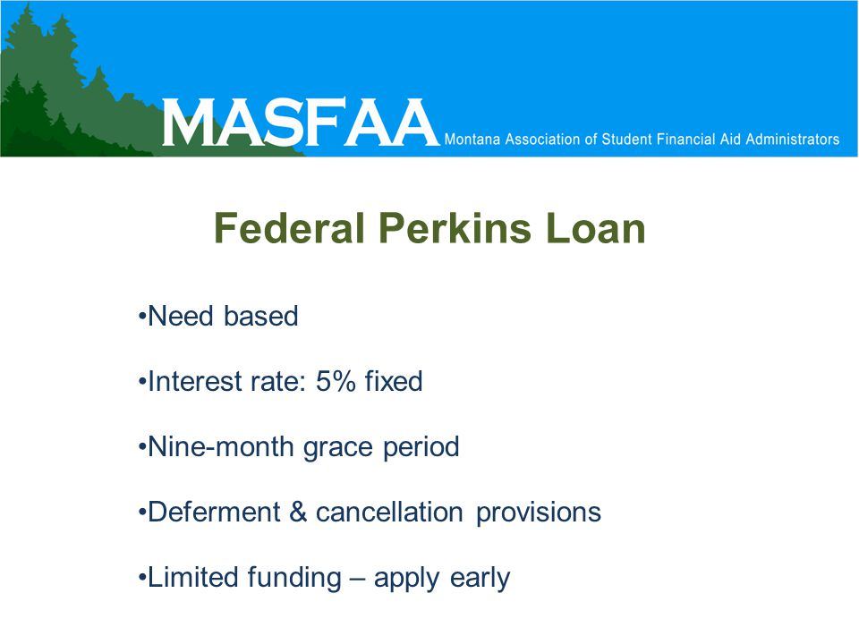 Need based Interest rate: 5% fixed Nine-month grace period Deferment & cancellation provisions Limited funding – apply early Federal Perkins Loan