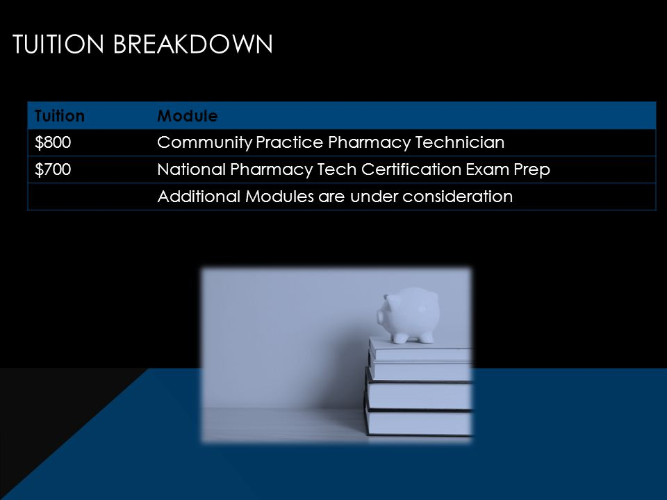 TUITION BREAKDOWN TuitionModule $800Community Practice Pharmacy Technician $700National Pharmacy Tech Certification Exam Prep Additional Modules are under consideration