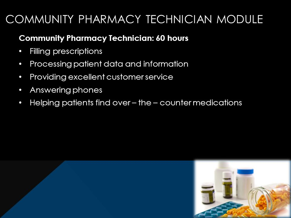 Community Pharmacy Technician: 60 hours Filling prescriptions Processing patient data and information Providing excellent customer service Answering phones Helping patients find over – the – counter medications COMMUNITY PHARMACY TECHNICIAN MODULE
