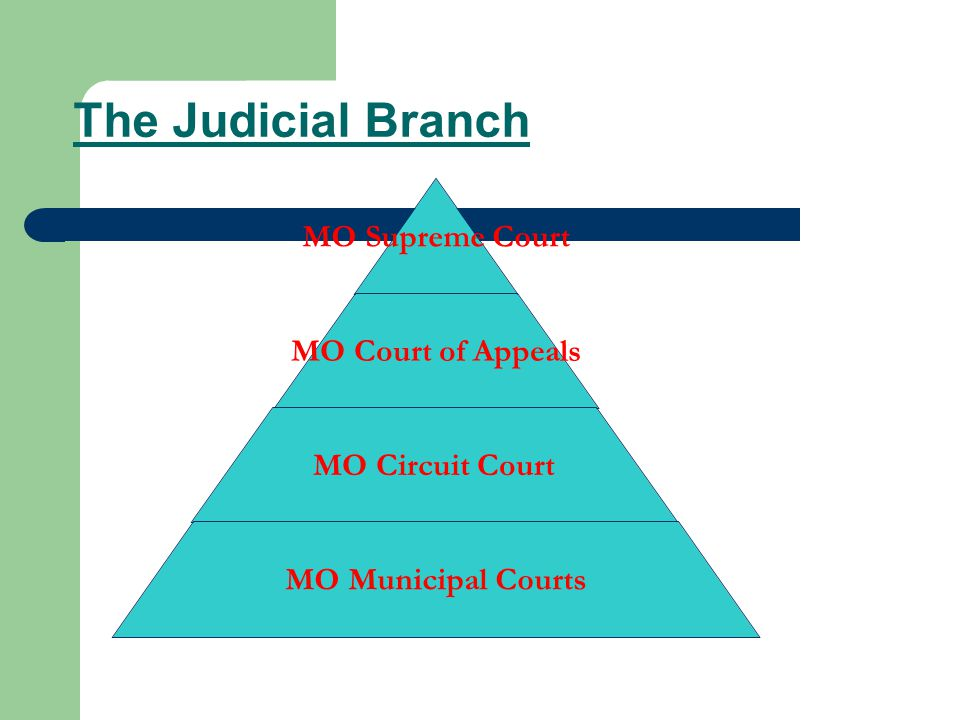 The Judicial Branch MO Supreme Court MO Court of Appeals MO Circuit Court MO Municipal Courts