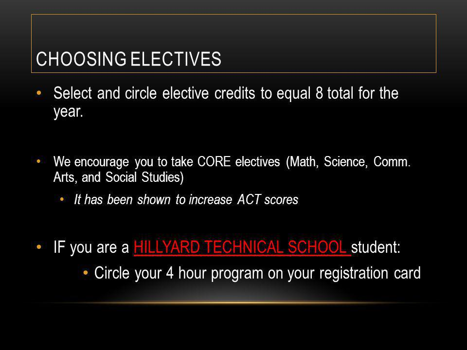 CHOOSING ELECTIVES Select and circle elective credits to equal 8 total for the year.