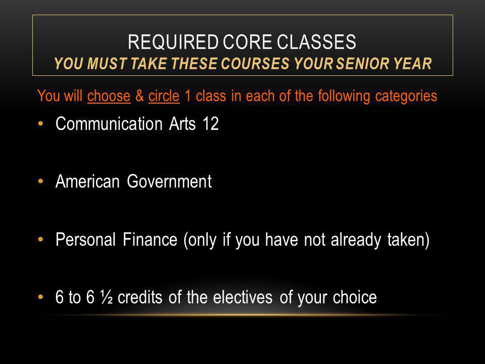 REQUIRED CORE CLASSES YOU MUST TAKE THESE COURSES YOUR SENIOR YEAR You will choose & circle 1 class in each of the following categories Communication Arts 12 American Government Personal Finance (only if you have not already taken) 6 to 6 ½ credits of the electives of your choice