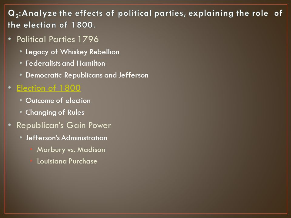 Political Parties 1796 Legacy of Whiskey Rebellion Federalists and Hamilton Democratic-Republicans and Jefferson Election of 1800 Outcome of election Changing of Rules Republican's Gain Power Jefferson's Administration Marbury vs.