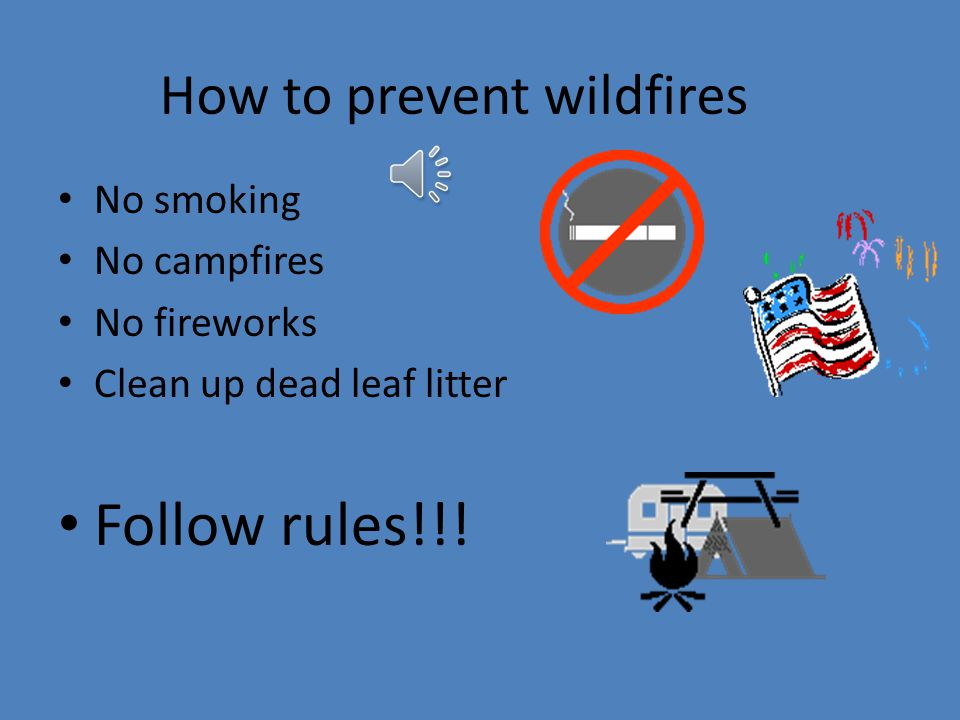 How to stop wildfire injuries at Terrapin Park Don't act immature; vandalizing No hunting No playing with matches NO!!!!!