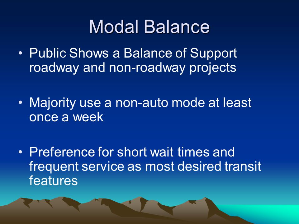 Modal Balance Public Shows a Balance of Support roadway and non-roadway projects Majority use a non-auto mode at least once a week Preference for short wait times and frequent service as most desired transit features