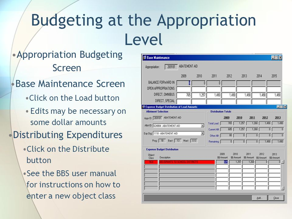 Budgeting at the Appropriation Level Appropriation Budgeting Screen Base Maintenance Screen Click on the Load button Edits may be necessary on some dollar amounts Distributing Expenditures Click on the Distribute button See the BBS user manual for instructions on how to enter a new object class
