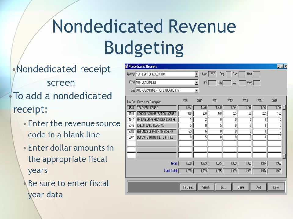 Nondedicated Revenue Budgeting Nondedicated receipt screen To add a nondedicated receipt: Enter the revenue source code in a blank line Enter dollar amounts in the appropriate fiscal years Be sure to enter fiscal year data