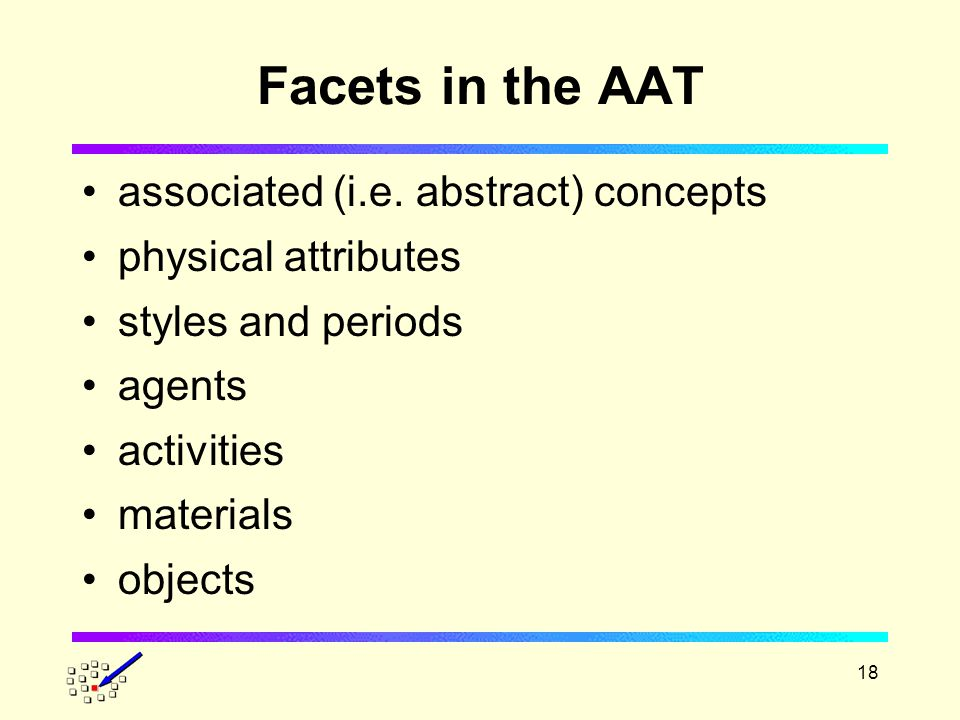 18 Facets in the AAT associated (i.e.