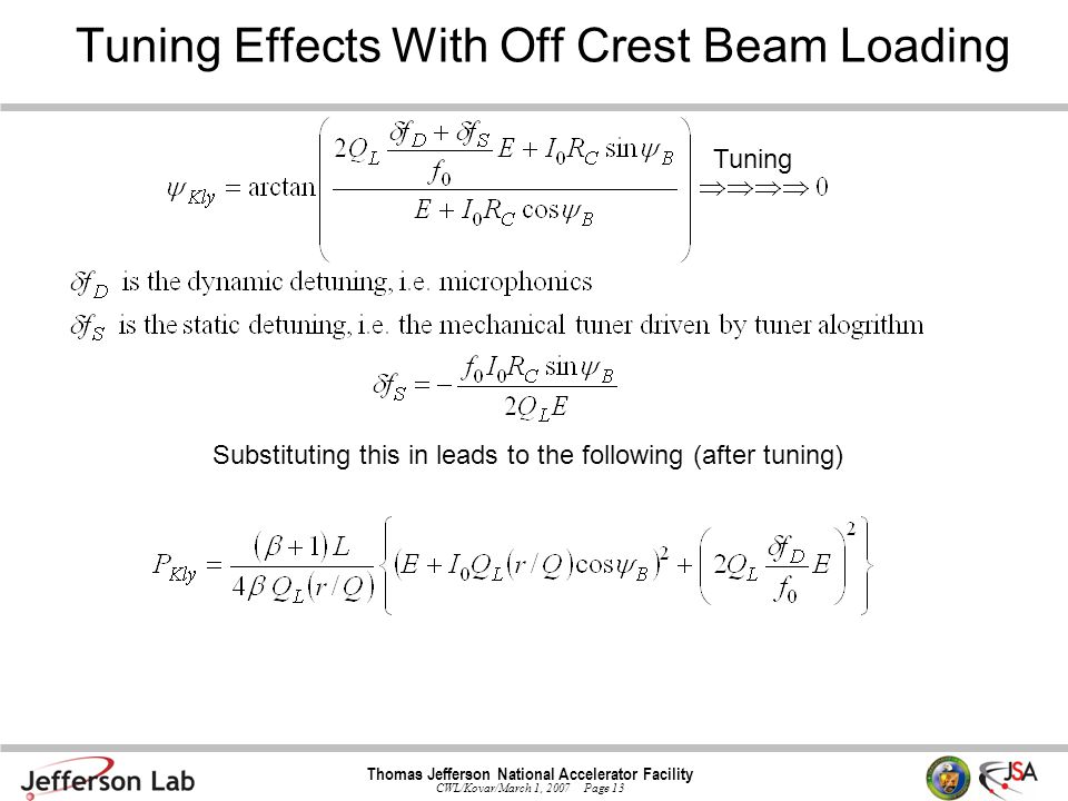 Thomas Jefferson National Accelerator Facility CWL/Kovar/March 1, 2007 Page 13 Tuning Effects With Off Crest Beam Loading Tuning Substituting this in leads to the following (after tuning)