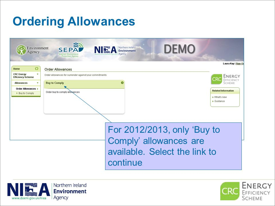 Ordering Allowances For 2012/2013, only 'Buy to Comply' allowances are available.