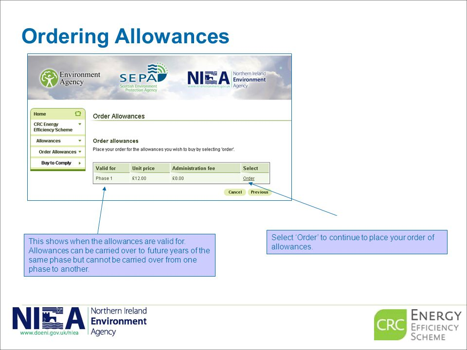 Ordering Allowances Select 'Order' to continue to place your order of allowances.