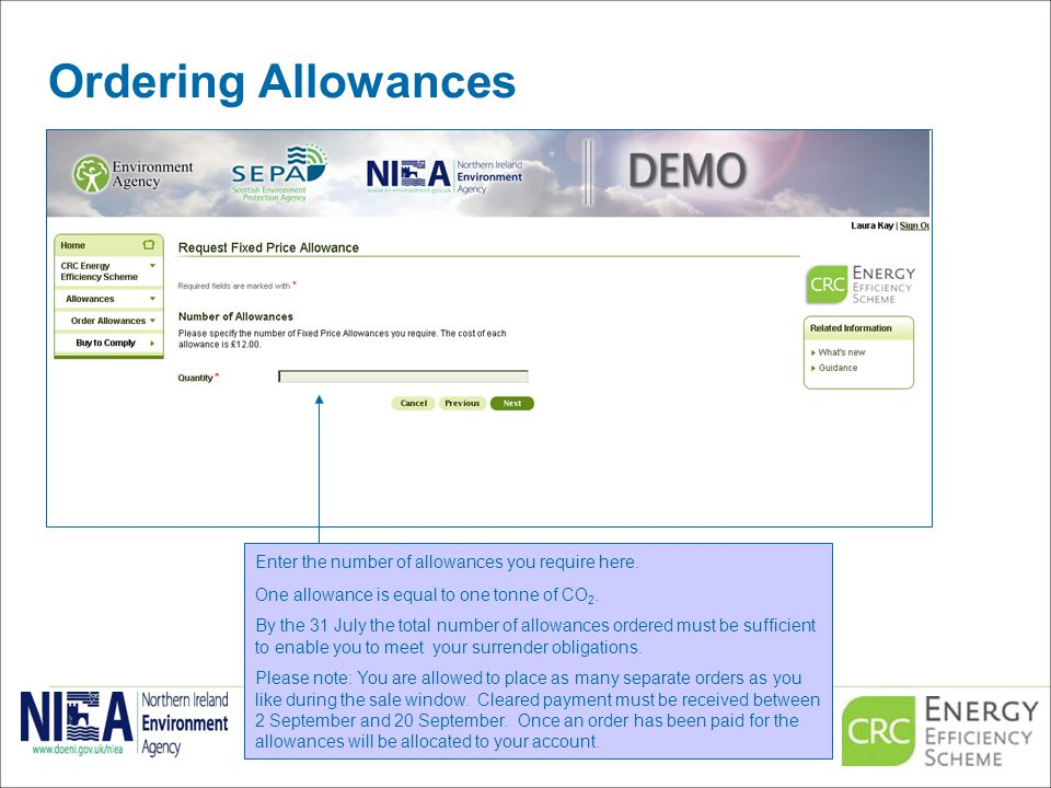Ordering Allowances Enter the number of allowances you require here.