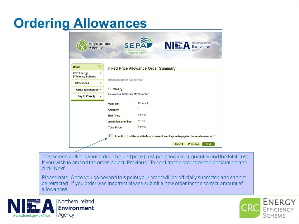 Ordering Allowances This screen outlines your order.