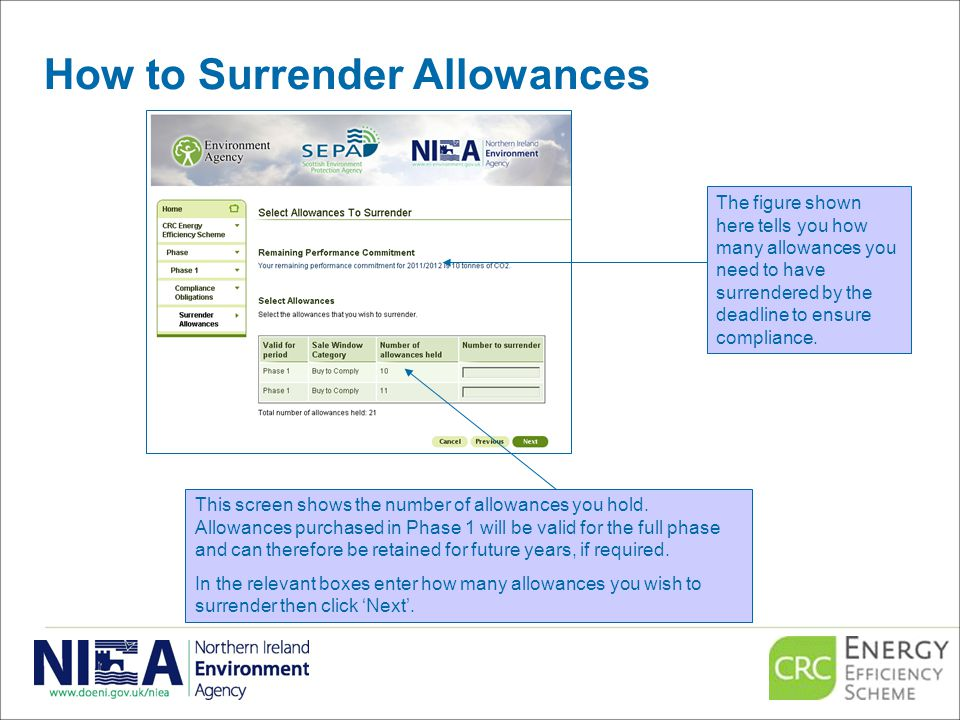 How to Surrender Allowances This screen shows the number of allowances you hold.