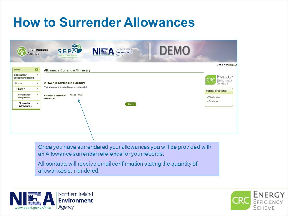 How to Surrender Allowances Once you have surrendered your allowances you will be provided with an Allowance surrender reference for your records.
