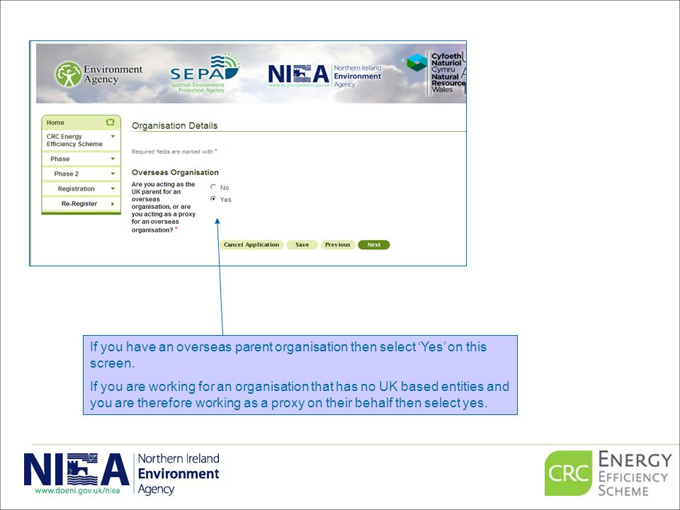 If you have an overseas parent organisation then select 'Yes' on this screen.