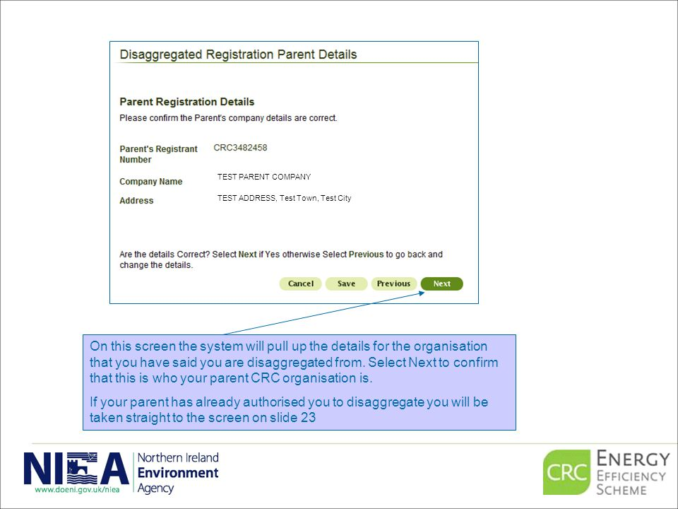 On this screen the system will pull up the details for the organisation that you have said you are disaggregated from.