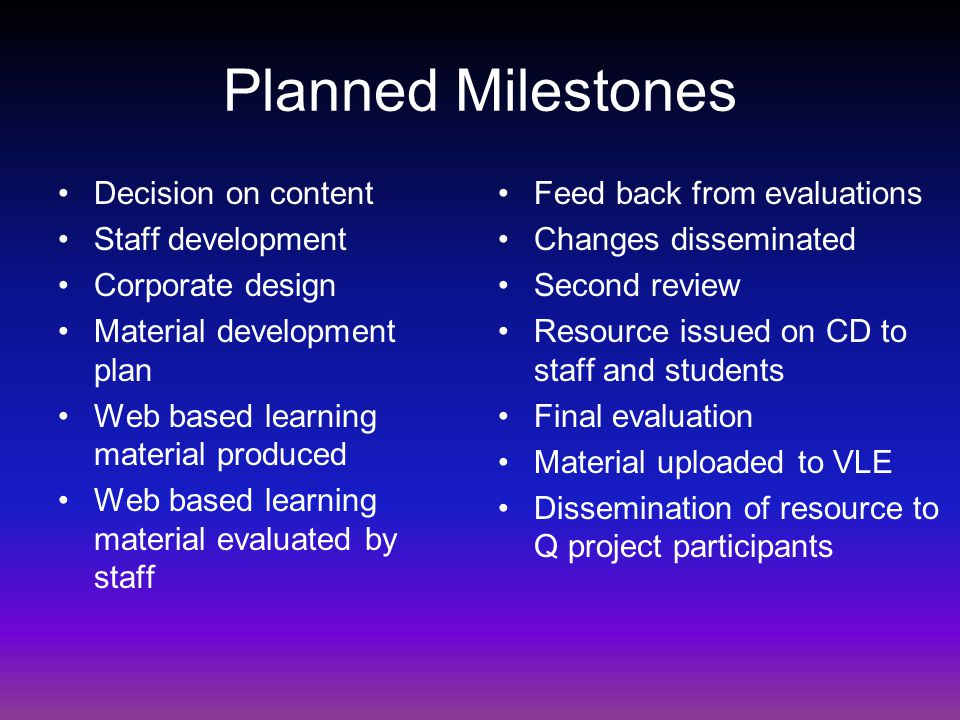 Planned Milestones Decision on content Staff development Corporate design Material development plan Web based learning material produced Web based learning material evaluated by staff Feed back from evaluations Changes disseminated Second review Resource issued on CD to staff and students Final evaluation Material uploaded to VLE Dissemination of resource to Q project participants