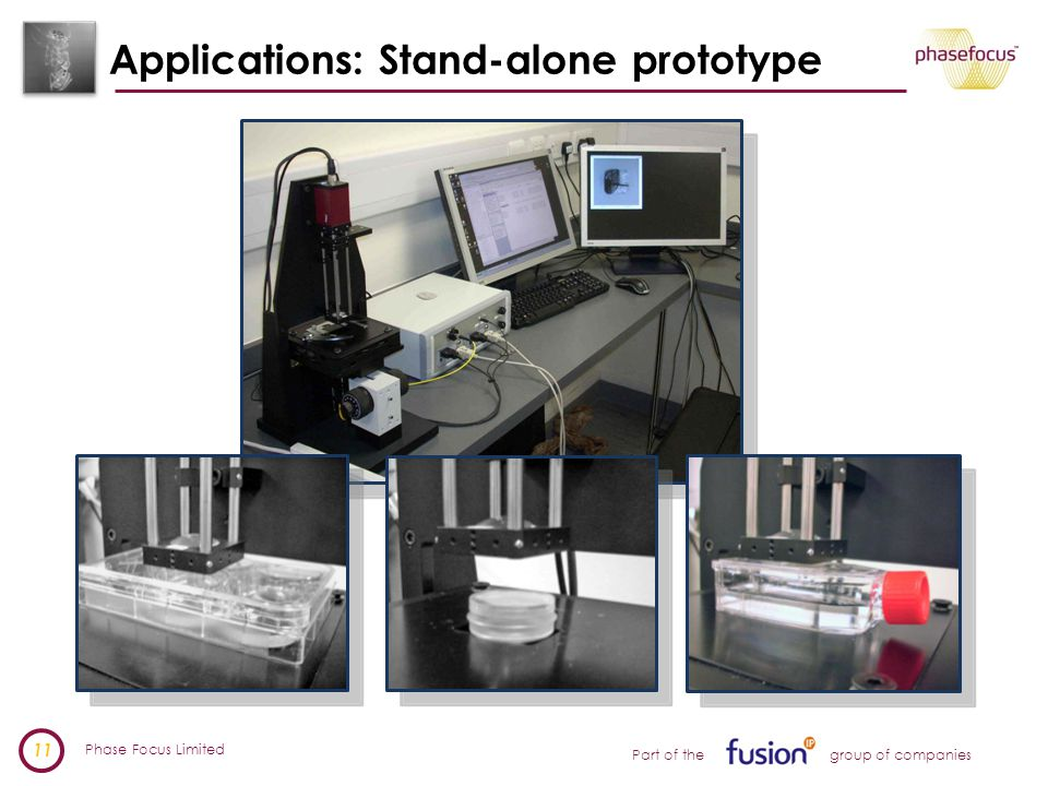 Phase Focus Limited 11 Part of the group of companies Applications: Stand-alone prototype