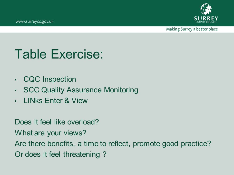 Table Exercise: CQC Inspection SCC Quality Assurance Monitoring LINks Enter & View Does it feel like overload.