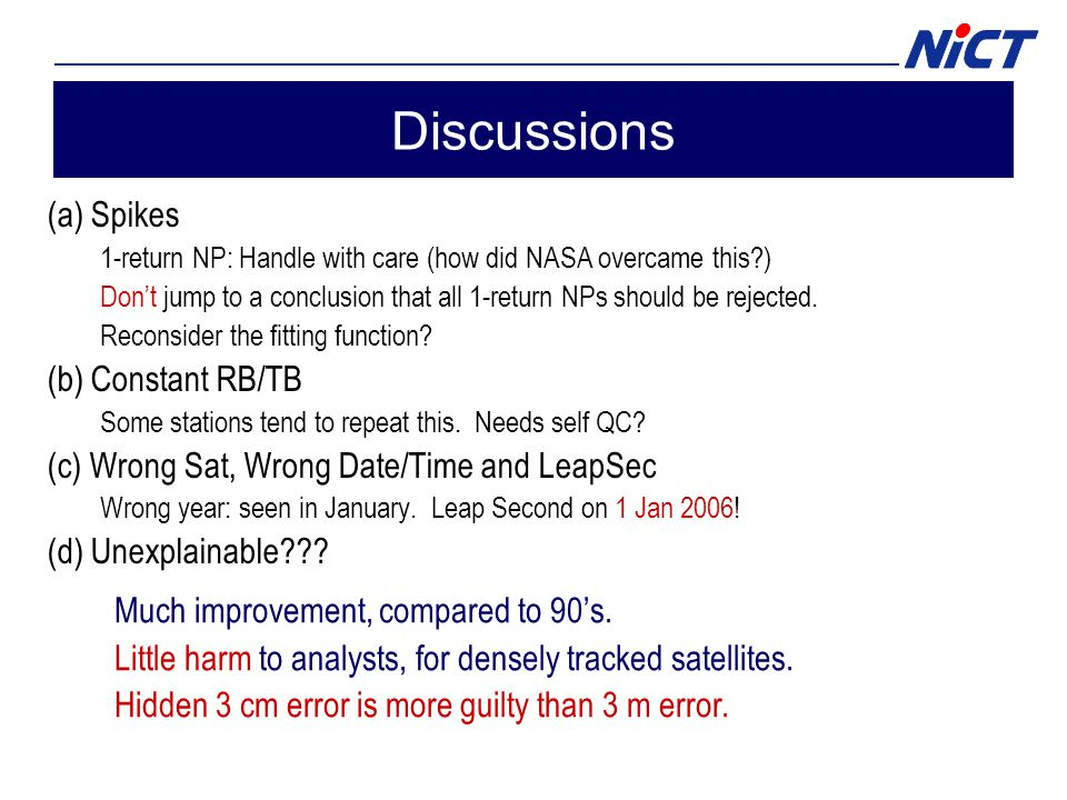 Discussions (a) Spikes 1-return NP: Handle with care (how did NASA overcame this ) Don't jump to a conclusion that all 1-return NPs should be rejected.