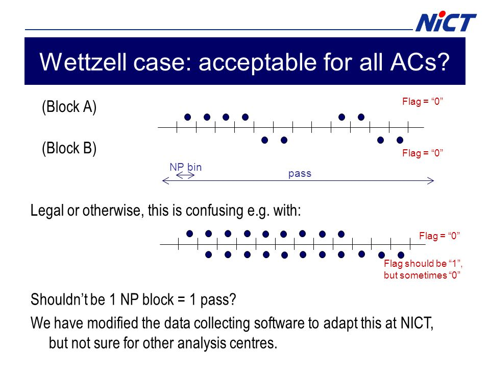 Wettzell case: acceptable for all ACs. (Block A) (Block B) Shouldn't be 1 NP block = 1 pass.