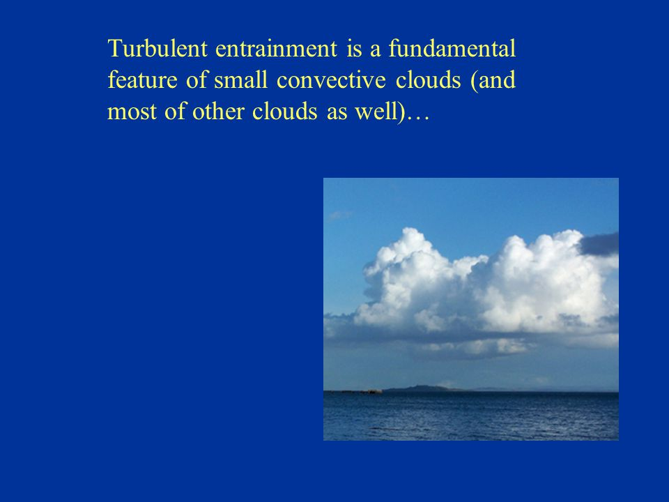 Turbulent entrainment is a fundamental feature of small convective clouds (and most of other clouds as well)…