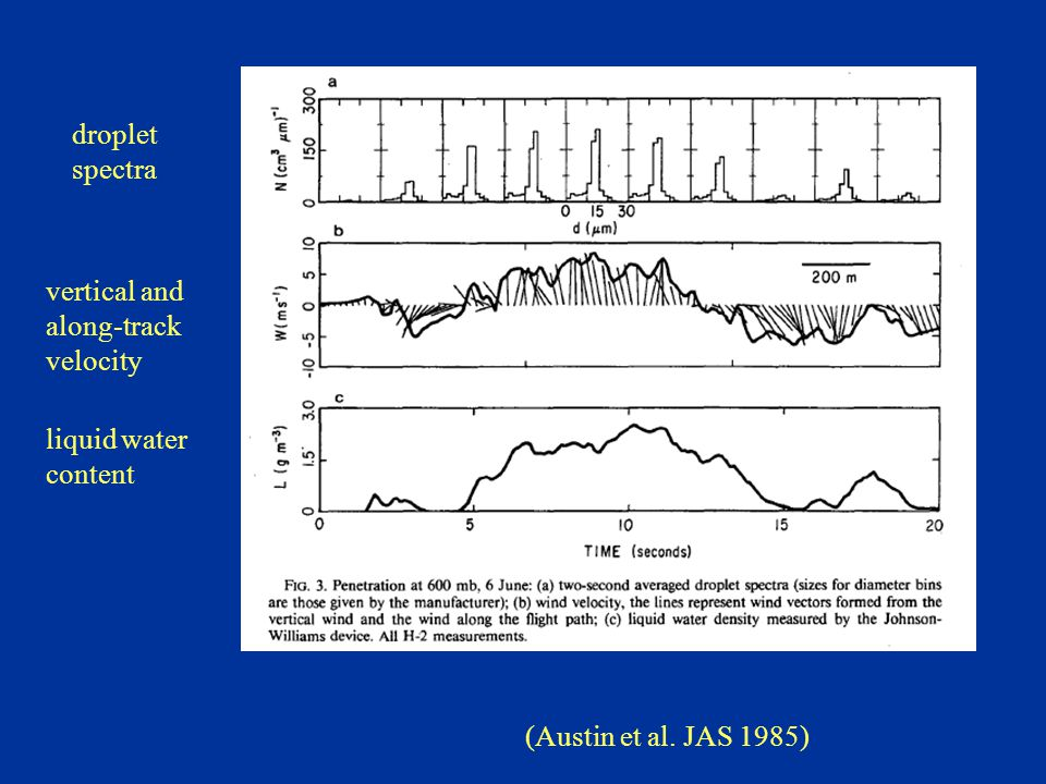 (Austin et al. JAS 1985) droplet spectra vertical and along-track velocity liquid water content