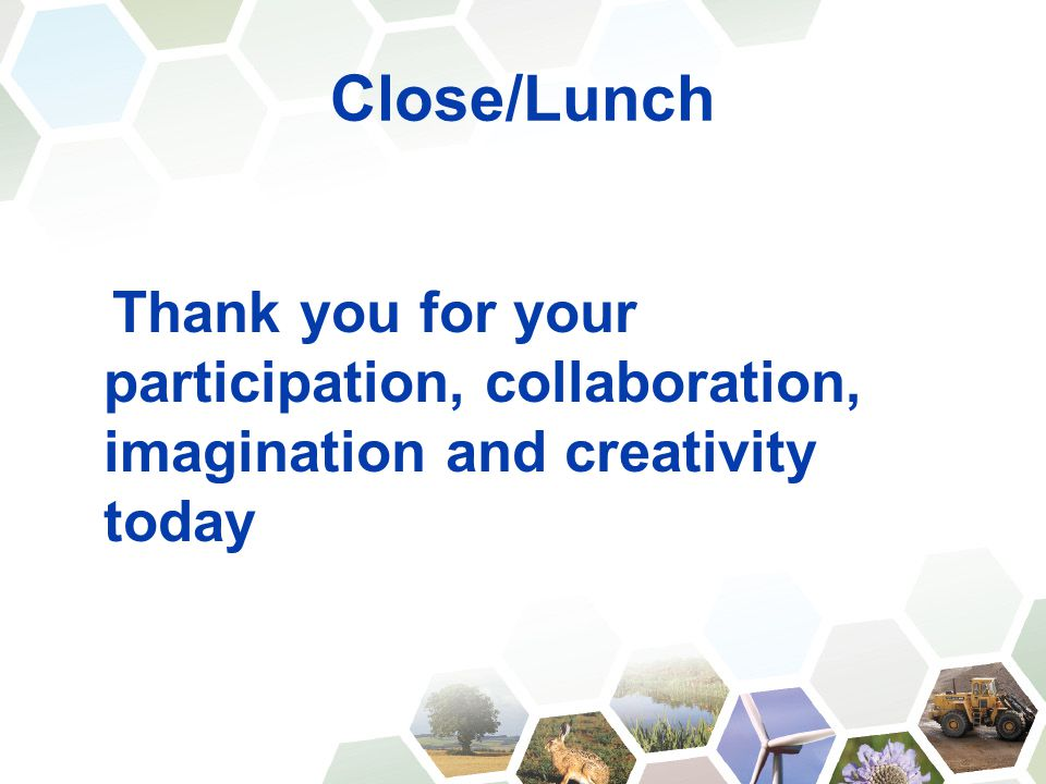 Close/Lunch Thank you for your participation, collaboration, imagination and creativity today