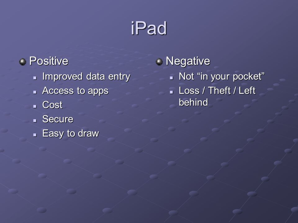 iPad Positive Improved data entry Improved data entry Access to apps Access to apps Cost Cost Secure Secure Easy to draw Easy to drawNegative Not in your pocket Loss / Theft / Left behind