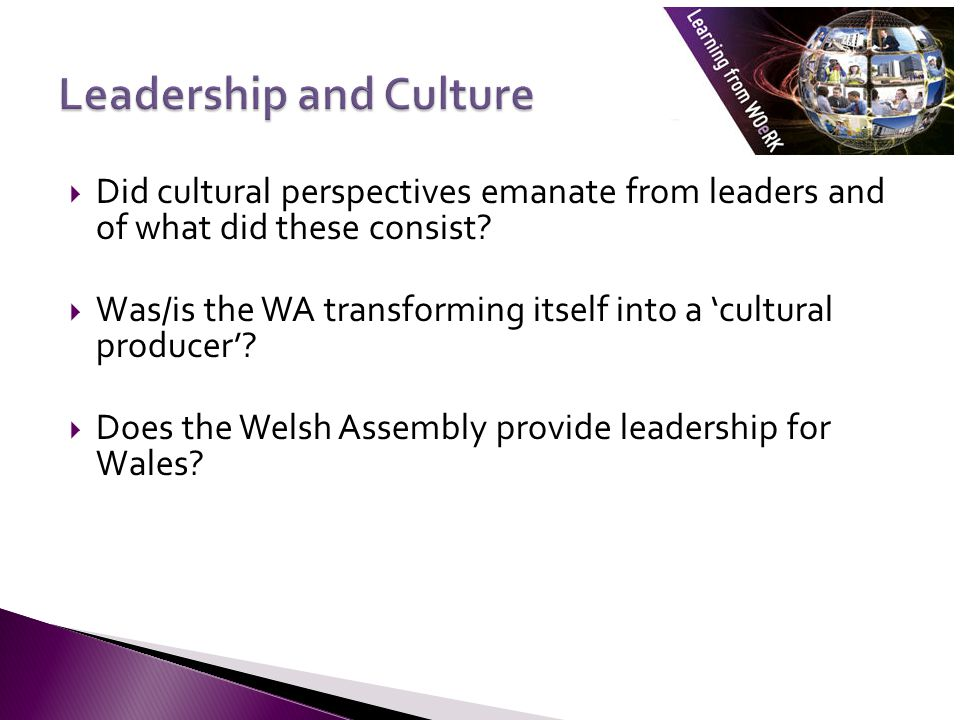  Did cultural perspectives emanate from leaders and of what did these consist.