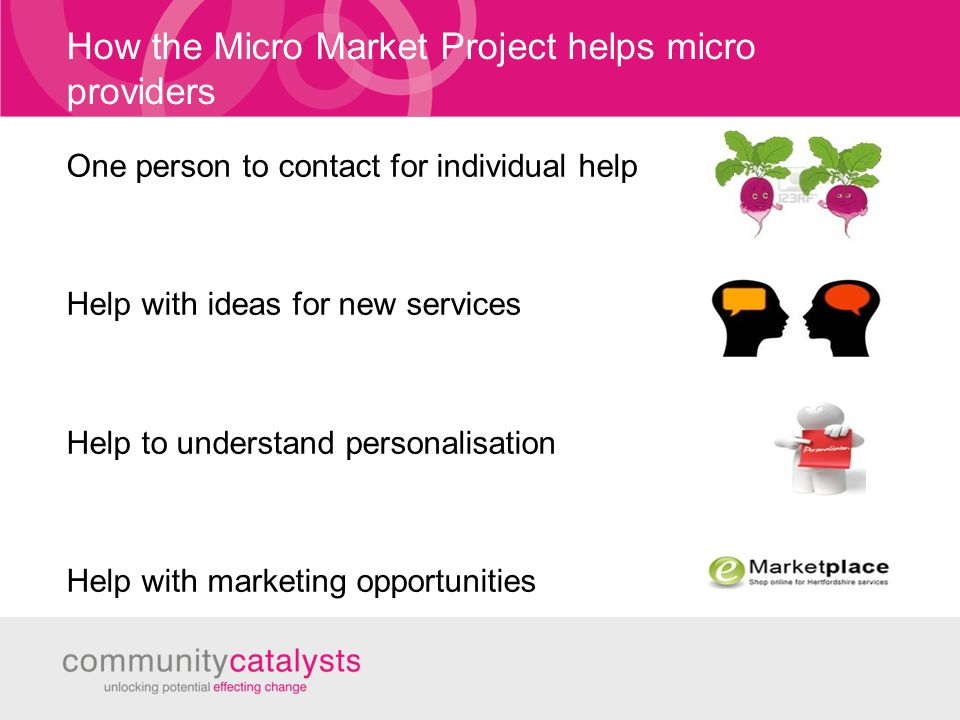 How the Micro Market Project helps micro providers One person to contact for individual help Help with ideas for new services Help to understand personalisation Help with marketing opportunities