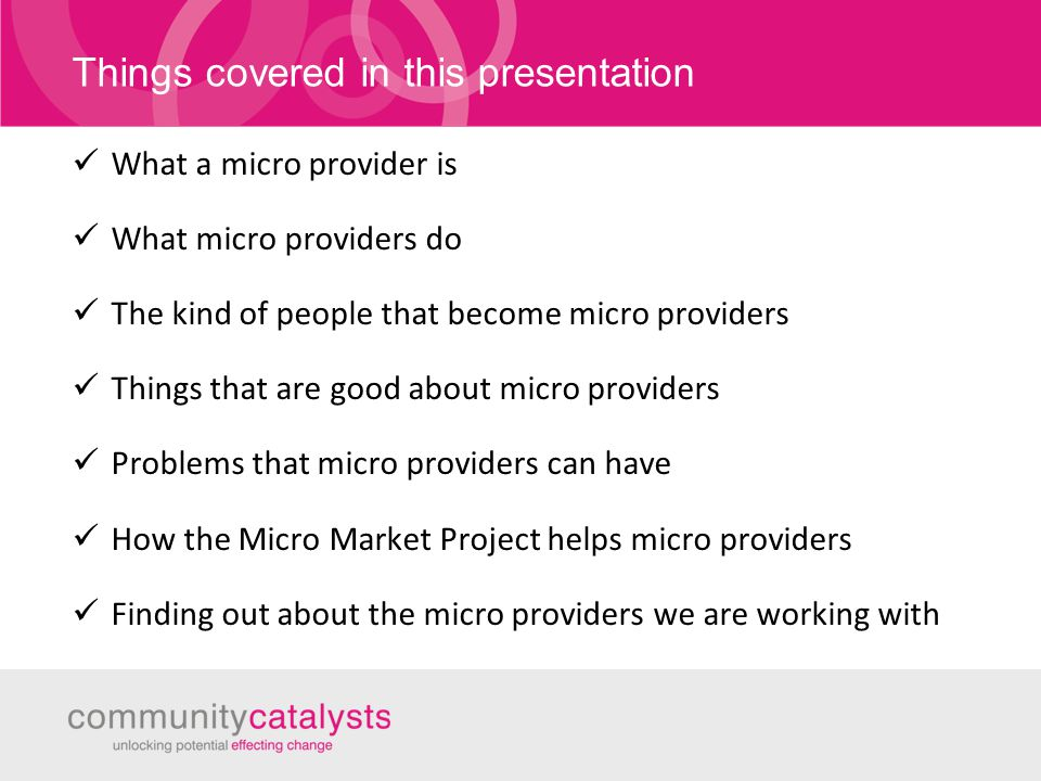 Things covered in this presentation What a micro provider is What micro providers do The kind of people that become micro providers Things that are good about micro providers Problems that micro providers can have How the Micro Market Project helps micro providers Finding out about the micro providers we are working with